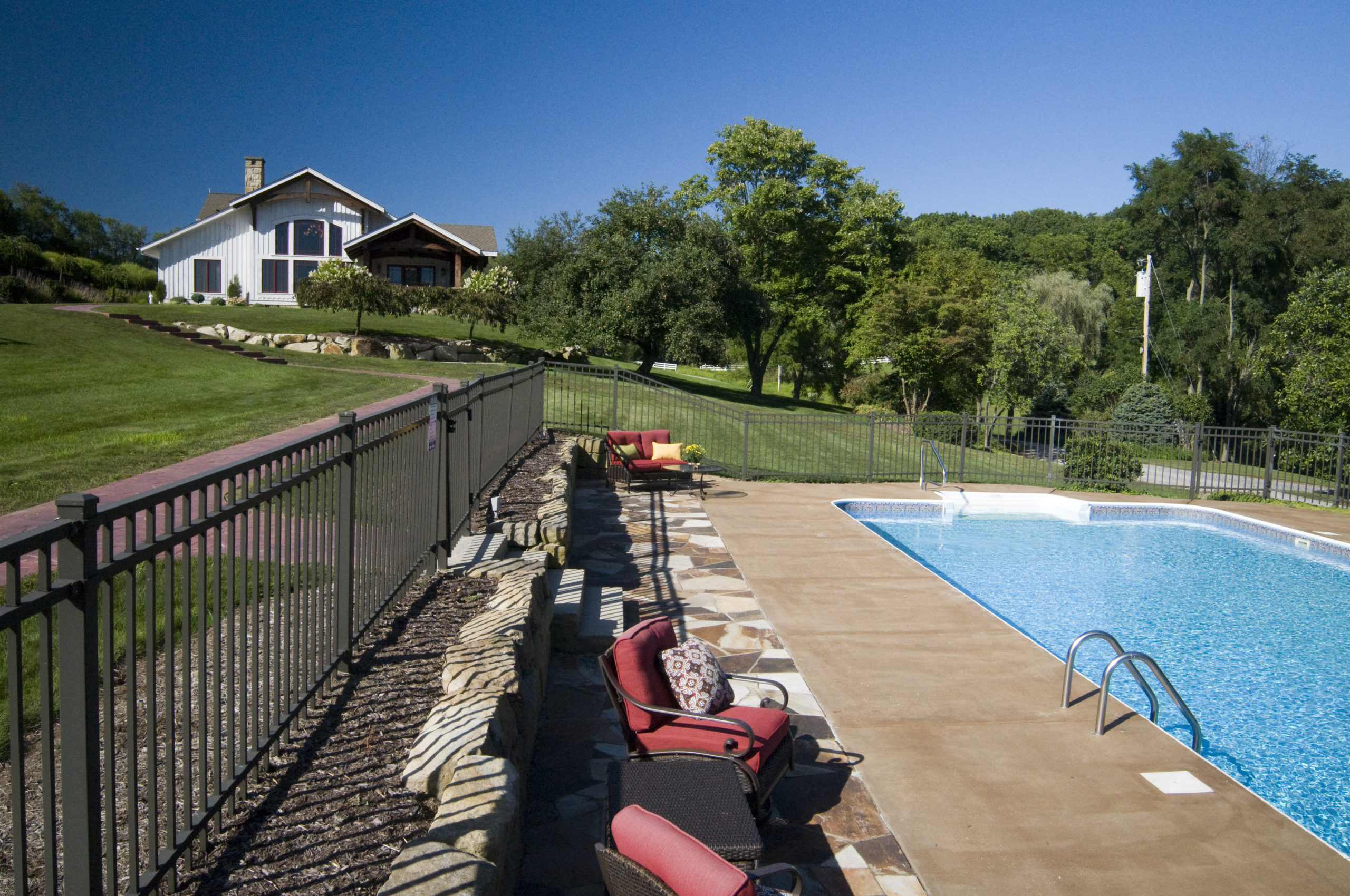 Pool overlooking the main lodge at Silvermist
